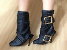 Barbie Top Model Muse Point Toe Faux Leather Fashion Gold Buckle Boots Shoes