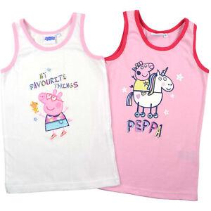 Peppa Wutz Kinder Mädchen Hemdchen, 2er Pack, weiß und rosa, Gr. 98/104 NEU/OVP