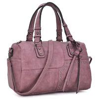 Dasein Women Handbags Faux Leather Barrel Bags Satchel Shoulder Purse