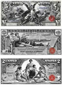 1896 EDUCATIONAL Series Reproduction of 3 famous notes/ $1, $2  ,$5 Bills