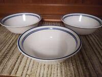 Set of 3 Corelle Vitrelle Classic Cafe Blue Cereal Soup Bowls