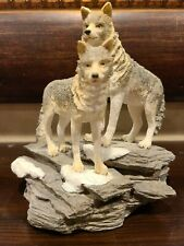 Westland Figurine Wolves Pair The Encounter 1995 Gray Wolf Pack Statue 3313
