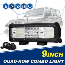 Quad-Row CREE 9inch 888W LED Work Light Bar Spot Flood Offroad 4WD ATV Truck 10""