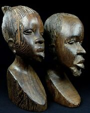 Amazing Hand Carved Pair of Wood Tribal Bust Sculptures of Woman and Man Africa