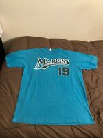 Vintage Florida Marlins Jeff Conine #19 Single Stitch T-Shirt Sz Large Majestic