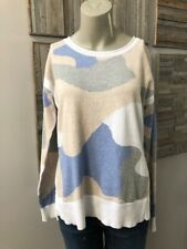 525 America Cotton Camouflage Hi-Low Hem Sweater Blue Size Small