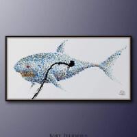 "painting 67"" Shark, animal fish art, shades of blue, contemporary art, pop art"