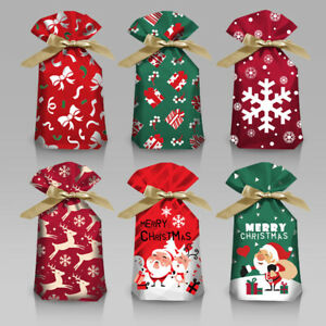 2022 NEW Christmas Deer Party Gift Drawstring Packing Stocking Bags 3 Sizes X10