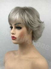 Fashion charm light gray mix short Straight synthetic ladies wig for Woman