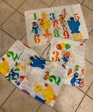 Vintage Sesame Street Novelty 123 Numbers Twin Set Bed Sheet Fabric Flat Fitted