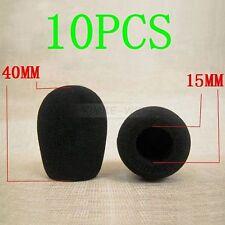 10 x Black Microphone Headset Windscreen Foam Mic Cover 40x15 mm