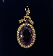Antique Amethyst and Seed Pearl Pendant 15ct Yellow Gold - Length 40 mm - 5.8 g