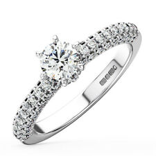 0.50CT Round Diamonds Solitaire with Accents Diamond Engagement Ring in Platinum