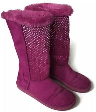 Justice Boots Girls Size 5 Faux Suede Fur Lined Casual Sparkle