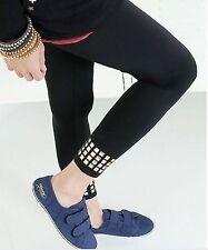 Women Ladies Black Punk Rock Rivet Metallic beads 85% Cotton leggings Pants