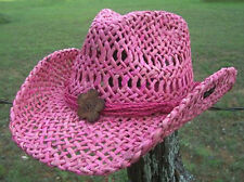 NEW Conner Women's Pink Thick Maize Straw Beach Western Cowboy Hat 1 size F5001