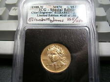 1988-W OLYMPICS LIBERTY $5 GOLD  MS70 ELIZABETH JONES