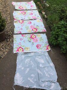 Job Lot Fabric Remnants Blue Pink Flowers Patchwork Quilting Abigail Clarke  5B