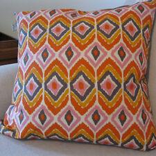 "Marlo Lorenz Thro Orange Pink Lilac Ikat Print Feather / Down 18"" Square Pillow"