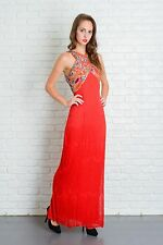 Vintage 80s Red Retro Cocktail Party Dress Beaded Deco Sequin Silk XS Maxi