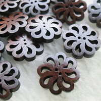 40pcs/lot PRO Flower Cute Wooden Buttons Sewing Craft Button 20MM NEW