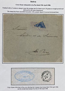 1908 Achacachi Bolivia bisect stamp Cover To La Paz