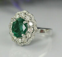 2.70 Carat Oval Cut Emerald & Diamond HAlO Engagement Ring 18k White Gold Over
