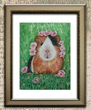 Original Watercolour Painting Tri colour Guinea Pig with Begonia Tiara