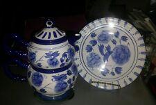 Blue Rhapsody ~ Cobalt Blue & White ~ Teapot & Decorative Plates ~ Kitchen Decor