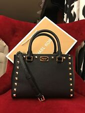 NWT MICHAEL KORS SAFFIANO LEATHER KELLEN STUDDED XS SATCHEL BAG IN BLACK/GOLD