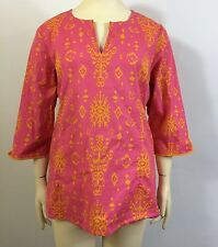 Summer Tunic Top 22W Pink Orange Tribal Cotton Stretch Plus Size Clothes 2X