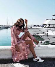 Zara Midi Red White Long Contrasting Striped Shirt Dress Size M BNWT Bloggers
