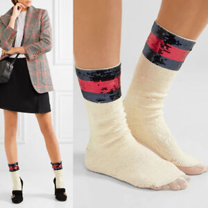 sz S NEW $520 GUCCI Woman's RUNWAY Ivory SEQUIN Navy Red Web Striped Mesh SOCKS