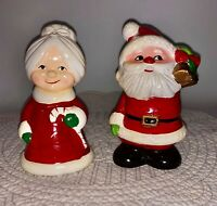 Vintage Ceramic Santa & Mrs Claus- Made in Japan 5.5 inches set 1950s