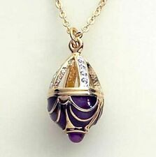 "Faberge Inspired Easter Egg Basket Pendant Gold Finish with Crystals 18"" Chain"