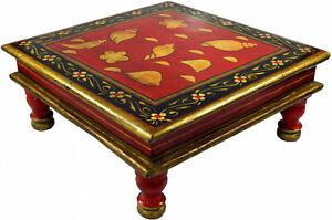 Bemalter Minitisch, rot, handbemalt in Indien, Blumenbank, maritime symbole