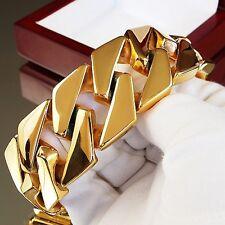 303g x 30mm Wide Men Stainless Steel Bracelet Heavy Weight 24K Gold Plated UK e