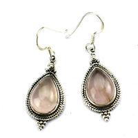 925 Sterling Silver Earrings 1 Pair Tribal Art Natural Rose Quartz Gems UKER-273