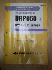 Komatsu Operation Manual & Parts List~DRP060-2 Hydraulic Ripper~Original