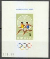 Romania 1968 MNH Mi Block 67 Sc 2038 Olympic Games, Mexico City ** Athletics