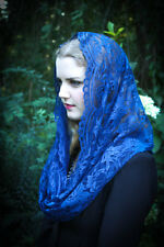 Evintage Veils: Our Lady Queen of Peace Blue French Lace Chapel Veil Mantilla