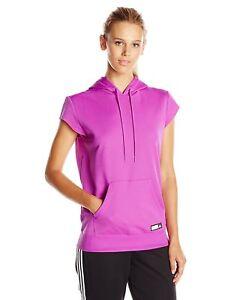NEW Adidas Womens Adigirl Short sleeve AG SS Hoody AY7686 PURPLE XS S SMALL