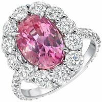 4Ct Oval Pink Sapphire Diamond Halo Cocktail Engagement Ring 14K White Gold Over