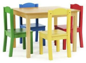 Tot Tutors TC715 Kids Wood Table and 4 Chairs - Multi-Color