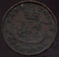 1854 Bank.of Upper Canada - Dragonslayer - 1 Penny - Superfleas - PC-6C1