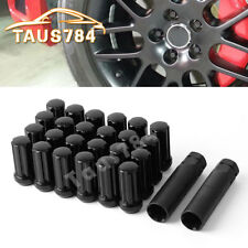 """For FORD F150 RAPTOR EXPEDITION 14X2.0 LUG NUTS SPLINE DRIVE 2"""" LONG BLACK 24PC"""