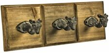 ANIMAL WALL 3 HOOKS SET RUSTIC WOOD BACK METAL HOOKS COATS TOWELS HANGERS