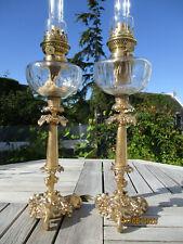 BELLE PAIRE DE LAMPES A PETROLE ANCIENNES