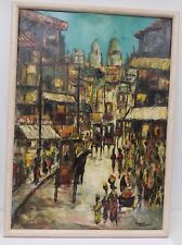 Mid Century Modern Abstract Oil Painting Marrakesh Morocco Medina by G.Martinez