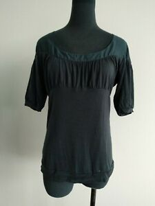 Country Road Dark Blue Silk Blend Trim Short Sleeve Blouse Top Tshirt S AU 8 10